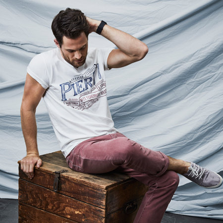 PIONEER JEANS T- Shirt V- Neck ecru