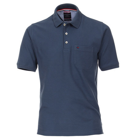 CASA MODA Polo Shirt kurzarm | 100% Baumwolle | Mittelblau