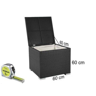 Kussen box I - Zwart - Plat vlechtwerk