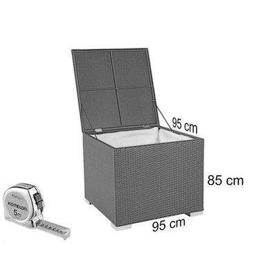 Kussen box II - Naturel - Rond vlechtwerk