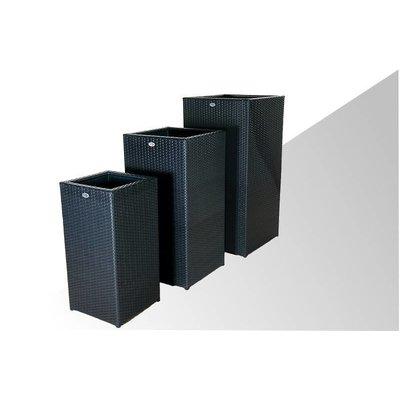 Bloembak Pilastro - hoog - Zwart - Plat vlechtwerk
