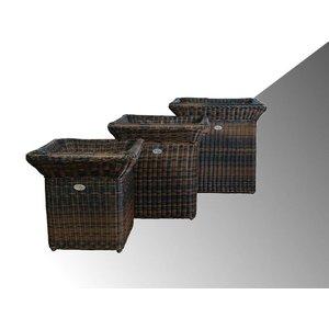 Bloembak Angelo - vierkant met rand - Bruin - Rond vlechtwerk