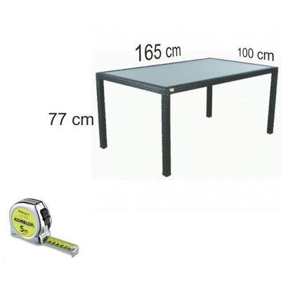 Tuintafel Valetta II - Zwart - Plat vlechtwerk