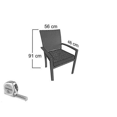 Tuinset Valetta I met Belgrado stoelen - Cappuccino - Plat vlechtwerk