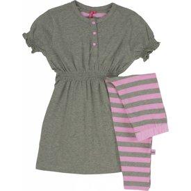 AnnaRebella AnnaRebella Meisjes Pyjama Grijs Melange Roze