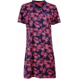 Medaillon Dames nachthemd MENGD1504A-Blauw-roze-RM