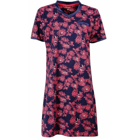 Dames nachthemd MENGD1504A-Blauw-roze-RM