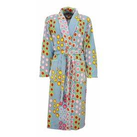 Tenderness Fleece dames badjas met sjaalkraag-Blauw T10 .