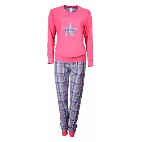 Dames Pyjama met geweven broek  IRPYD2703A-Roze-X8