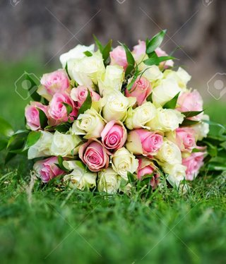 Miller Beautiful wedding flowers bouquet with yellow and pink roses