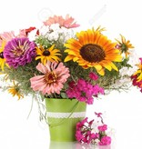 Garage Bouquet of bright flowers isolated on white