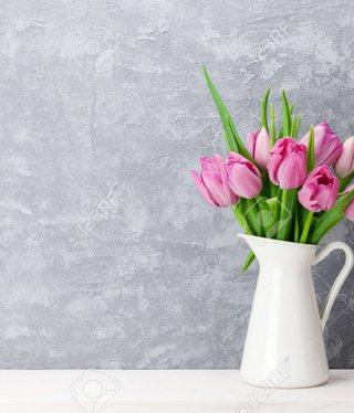 Fresh pink tulip flowers bouquet