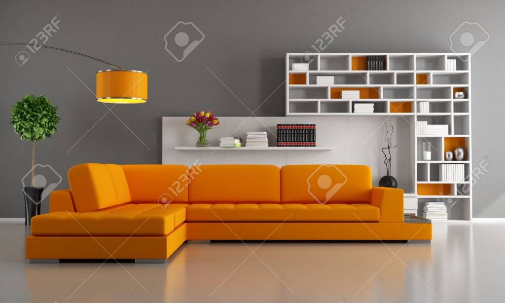 Miller Contemporary livingroom with orange sofa and bookcase rendering