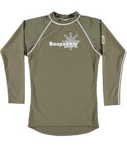 UV shirt Heren Lange Mouw 'Tribal Sun' kaki - Sonpakkie