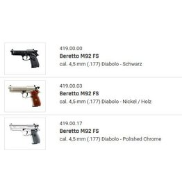 Beretta M92 FS Co2 Kal. 4,5 mm (.177) Diablo - 4 Models to choose