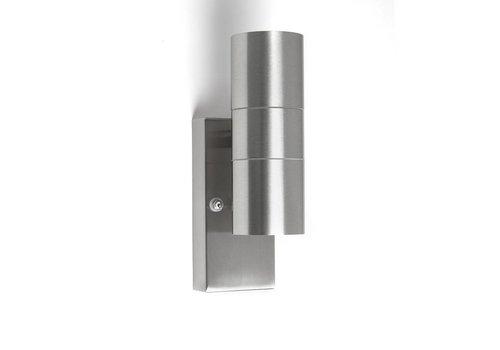 Lamponline Buitenlamp Sense mat chroom LED 2 lichts dag nacht sensor