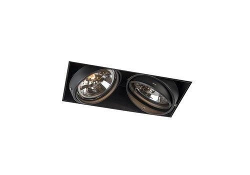 Lamponline Inbouwspot Bado 2 lichts AR111 zwart Trimless