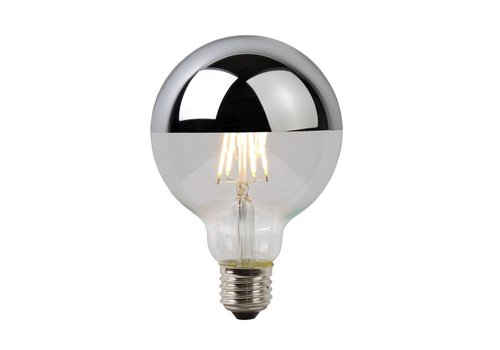 Lucide LED E27 globe 5 Watt kopspiegel chroom filament DIM
