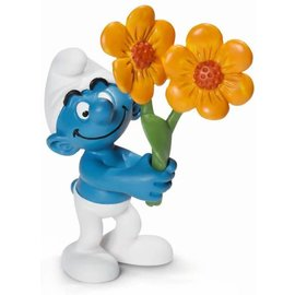 Schleich Bedank Smurf met bloemen