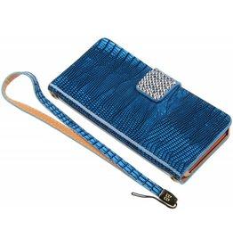 iPhone 5 / 5S / SE Smart Smiley Diamond Book Case Blue
