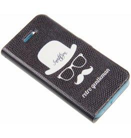 iPhone 5 / 5S / SE Smart Smiley Retro Gentleman Book Case Black