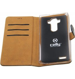 LG G4 Celly Wallet Case Leather Black