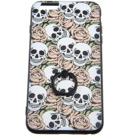 iPhone 6 Plus / 6S Plus Ring Hard ( Case Flowers with Skulls )