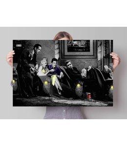 Poster Bogart, Dean, Presley & Monroe in Consani stijl