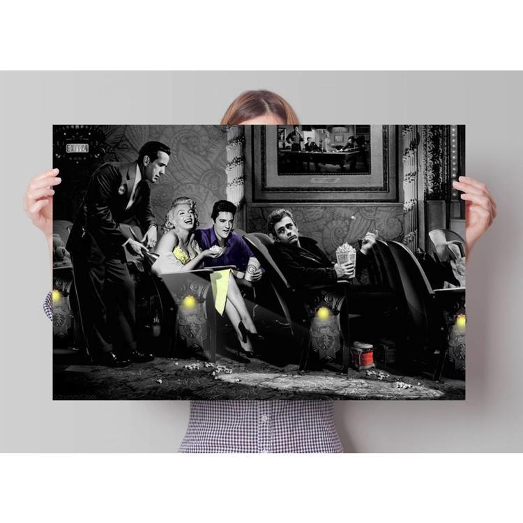 Bogart, Dean, Presley & Monroe in Consani stijl  - Poster 91.5 x 61 cm