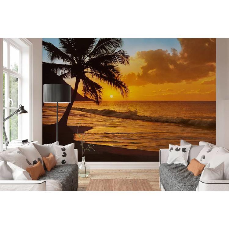 Zonsondergang Strand - Fotobehang 366 x 254 cm