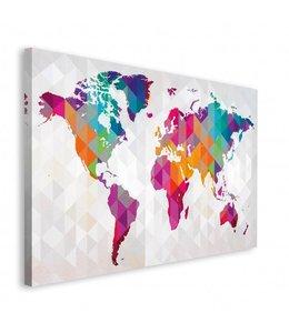 Schilderij Wereldkaart geometrisch
