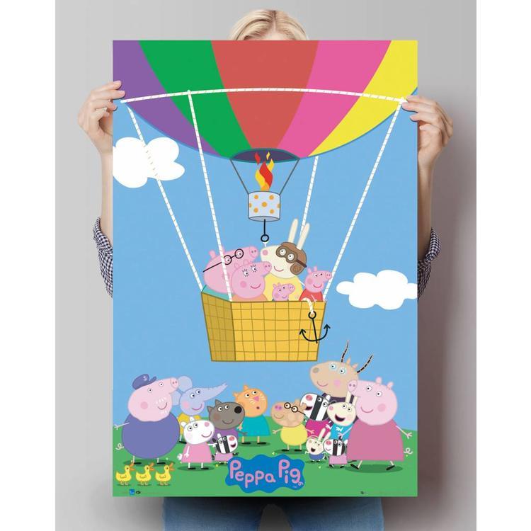 Peppa Pig ballon  - Poster 61 x 91.5 cm