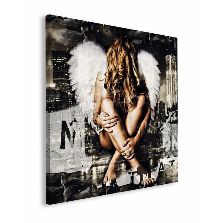 Jacksart  engel  - Schilderij 90 x 90 cm