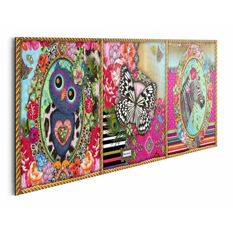 Melli Mello drieluik  - Schilderij 90 x 30 cm