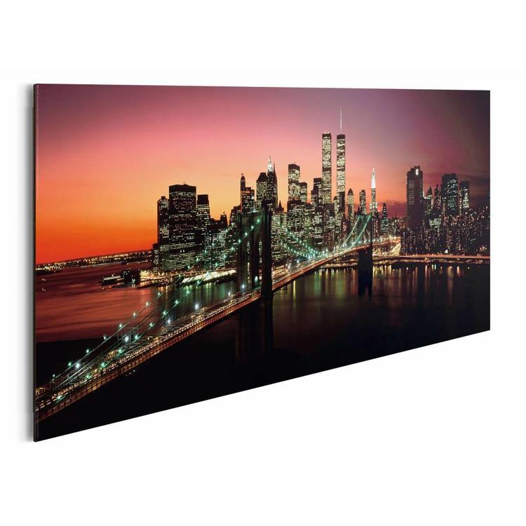 New York Brooklyn Bridge  - Schilderij 90 x 30 cm