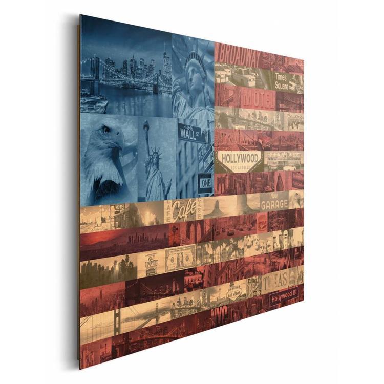 Vlag USA  - Schilderij 90 x 60 cm