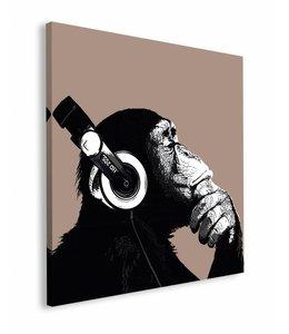 Schilderij Aap met koptelefoon Chimpansee