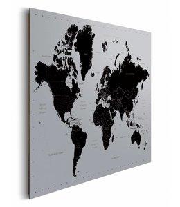 Schilderij Wereldkaart op zilver