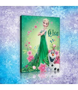Schilderij Frozen Elsa & Olaf - Green