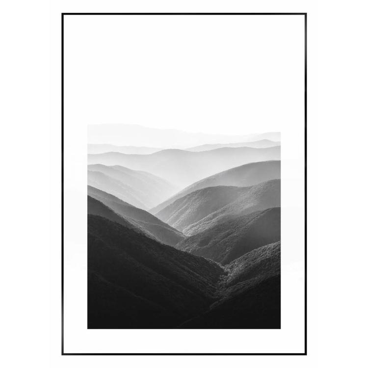 Vergezicht over berglandschap  - Schilderij 50 x 70 cm