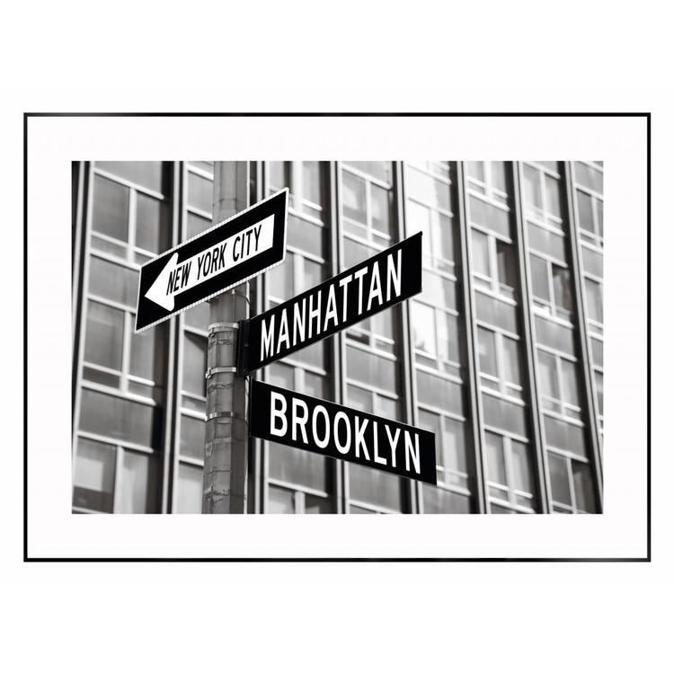 Verkeersborden in New York  - Schilderij 70 x 50 cm