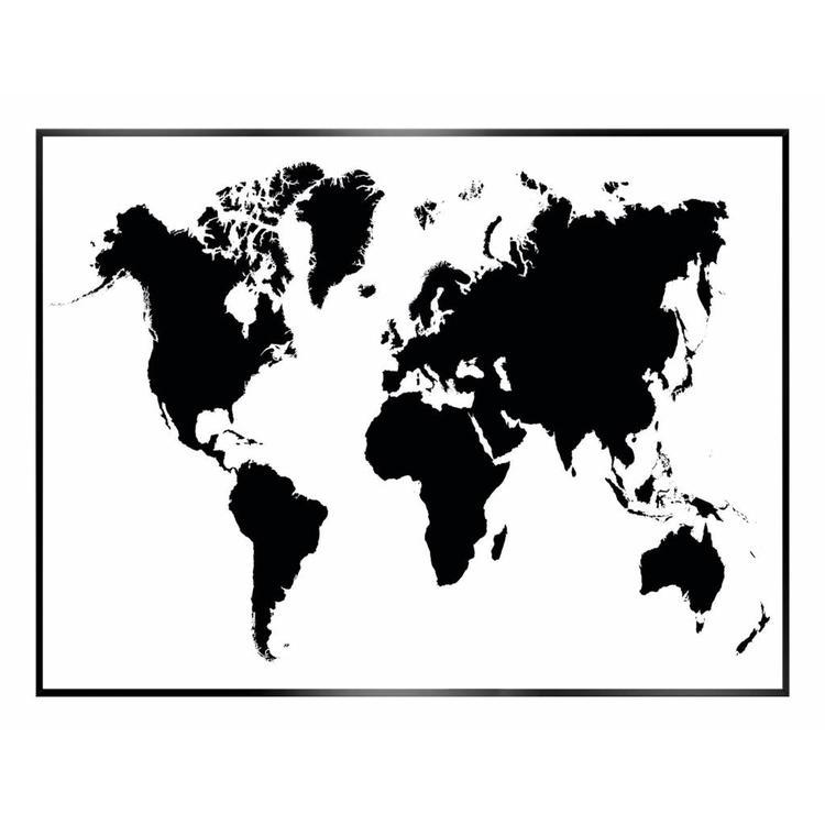 Wereldkaart  - Schilderij 40 x 30 cm