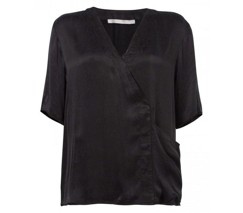 Cupro blouse big pocket