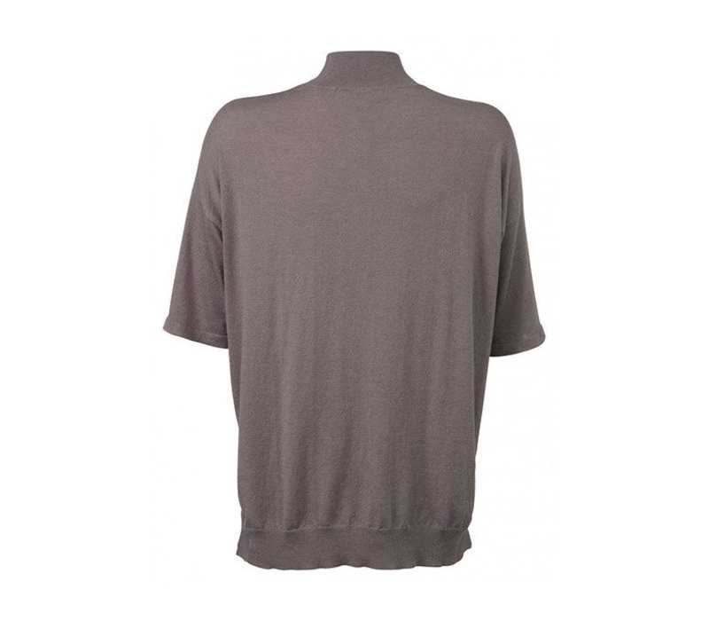 SHORT SLEEVE COL SWEATER