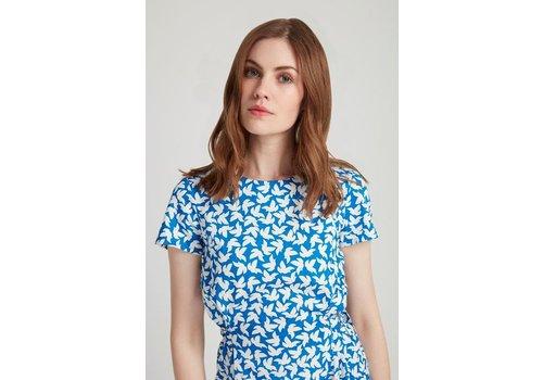 People Tree Danielle Dress Blue Dove print