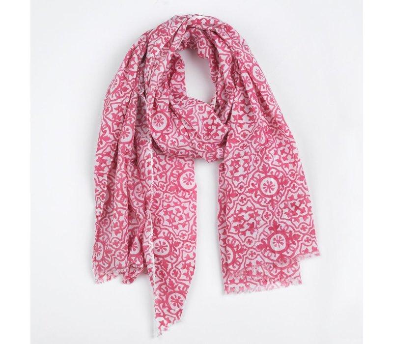 Scarf Wera, white/pink