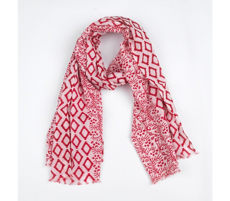 Scarf Mika, white/red
