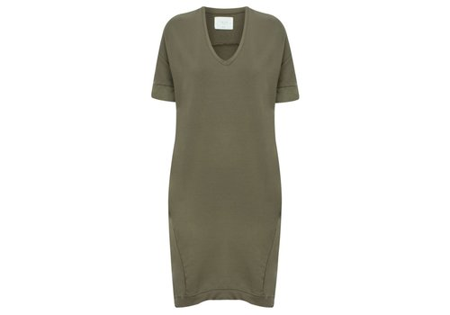 YAYA SHORT SLEEVED V-NECK DRESS WITH CONTRAST CUFF