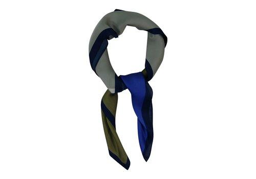 Black Colour Miniscarf square - khaki blue