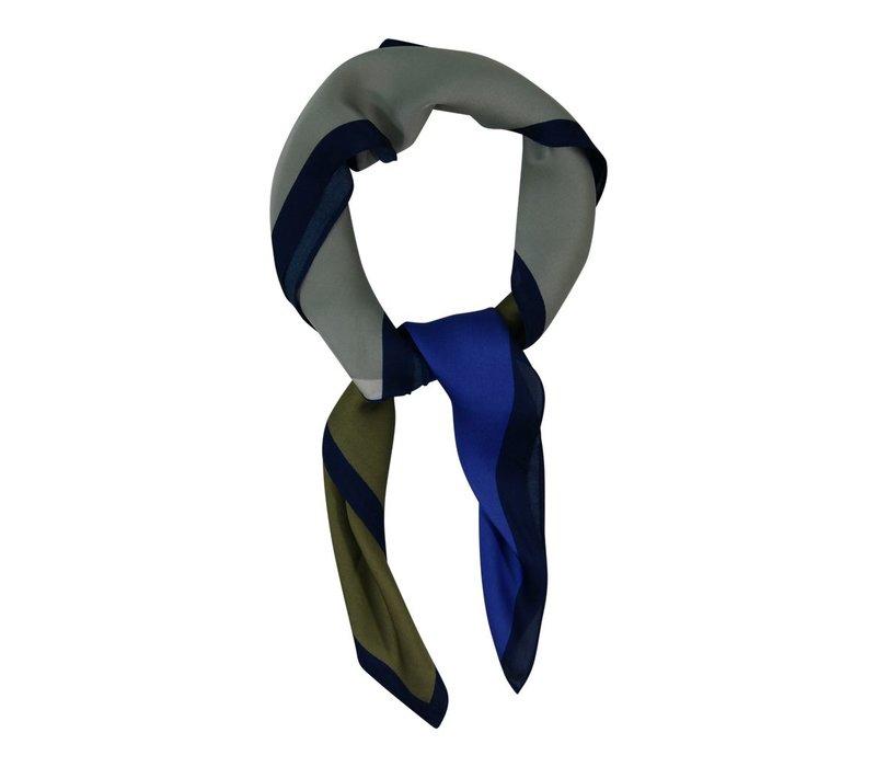 Miniscarf square - khaki blue